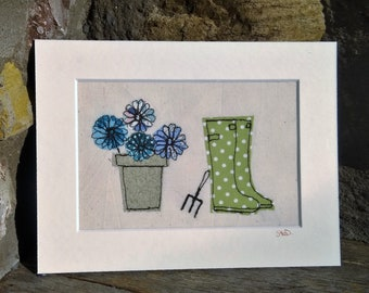 Wellies - free motion embroidery