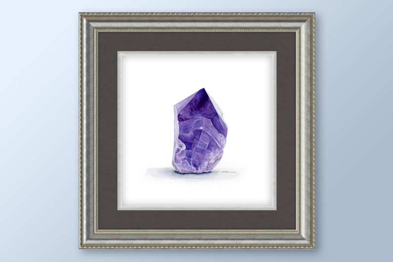Amethyst February Birthstone Watercolor Downloadable Art Print Instant Download