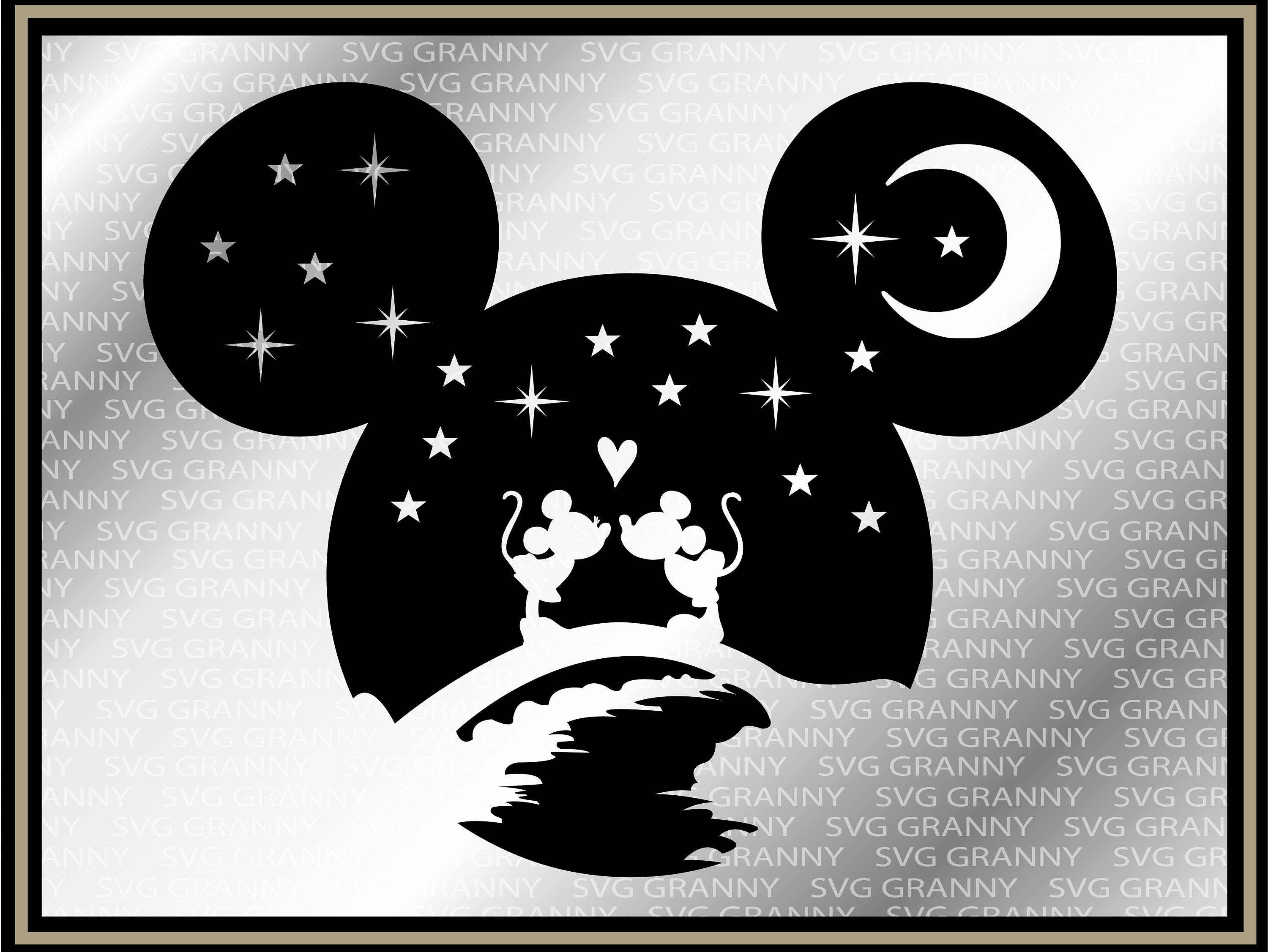 Download Mickey head Disney couple SVG DXF Png Layered Cut File ...