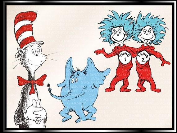 Dr. Seuss Svg die Katze im Hut Dr. Seuss Svg was 1 Sache | Etsy