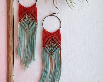 Gorgeous large statement bohemian turquoise and organge macrame earrings