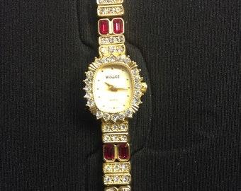 Vintage Visage Gem encrusted womens wrist watch