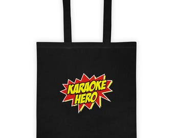 Karaoke Hero Tote Bag Gift for Karaoke Singer Loves Karaoke Bars and Singing with Friends  for Him Gift for Her