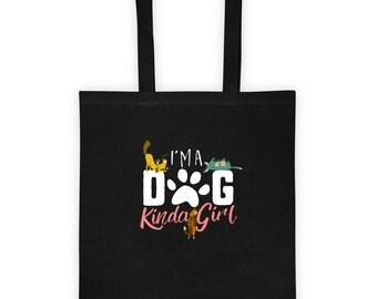 I'm a DOG Kinda Girl Tote Bag Gift for Her Dog Lover, Pupply Snuggler, Love My Pup Short Sleeve Dog Rescue