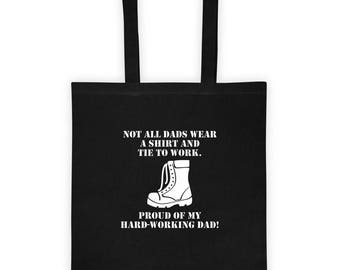 Proud of My Hard Working Dad Tote bag Blue Collar Working Father Gift for Father's Day for Daughter or Son Wears
