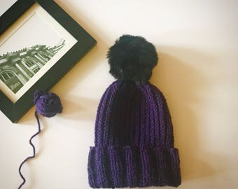 Purple peacock green handmade knitted beanie knit hat with fur pompom many colors available