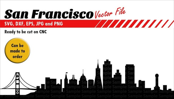 san francisco skyline silhouette svg dxf eps jpg and png etsy