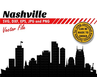 Nashville Skyline Svg, Dxf, Eps, Jpg and Png File   Country Music City Silhouette Cutting Vector File   Gnash, City DIY Gift, Wall Print