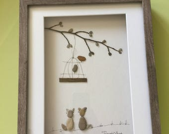 Bird watching pebble art