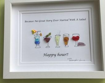 Happy hour pebble art