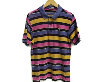 e830e32dbe684b Vintage CHEMISE LACOSTE rainbow stripes polo shirt made in france size 5