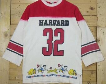 c68ed37469e Vintage 60s 70s HAVARD vs YALE vs PRINCETON university sports challenge  32  crewneck 3 4 sleeve shirt size M