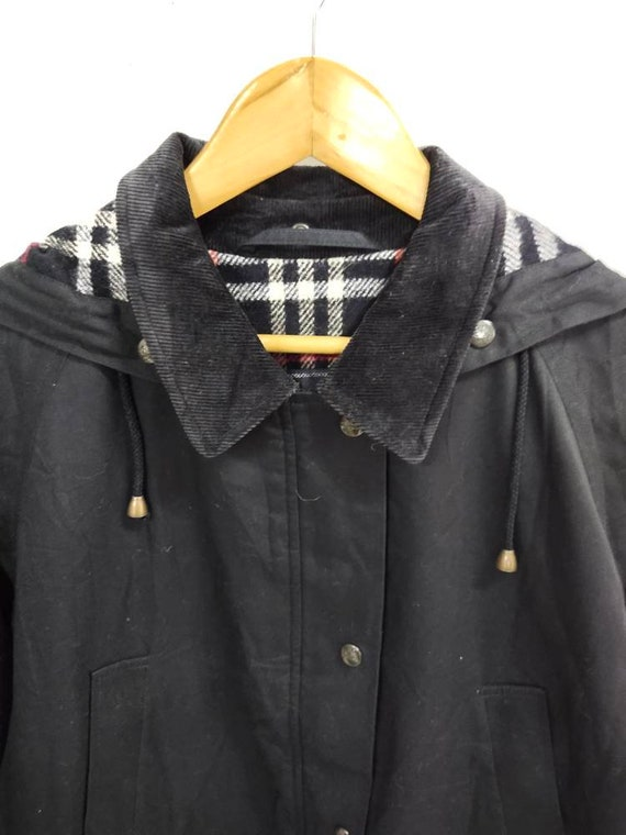 Vintage BURBERRY'S hoodie field jacket dark blue … - image 4