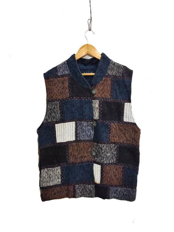 Vintage japanese patchwork multicolor denim vest s
