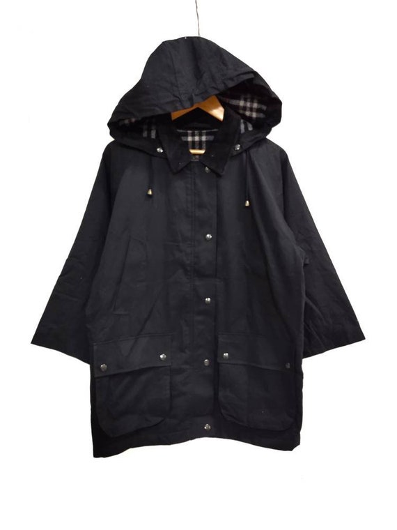Vintage BURBERRY'S hoodie field jacket dark blue … - image 1
