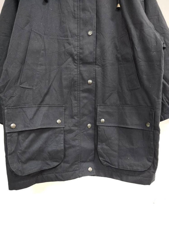 Vintage BURBERRY'S hoodie field jacket dark blue … - image 5
