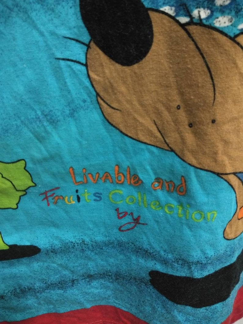 LIVABLE /& FRUIT collection polo shirts turtle dog character big print 2 side size L