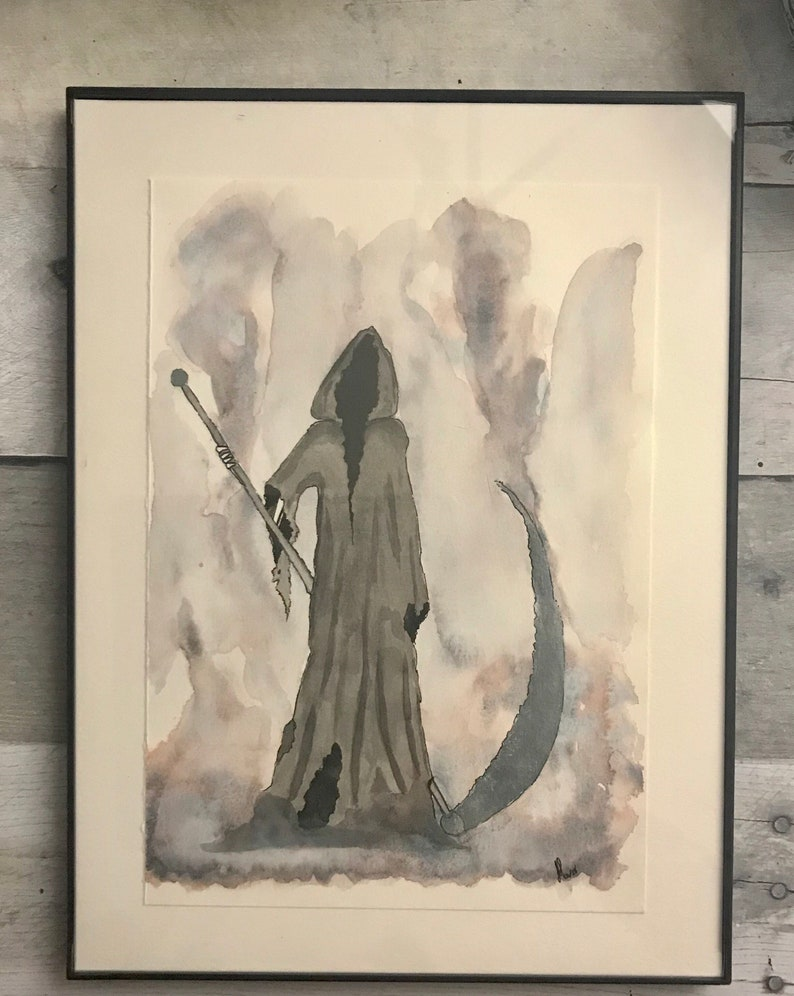 ff3191dd5 Grim Reaper Watercolor Painting Watercolor Illustration