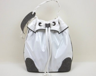 White & Grey Bucket Bag, White Handbag, Hobo Handbag, Frill Bucket Bag, Gift for Her, Sporty-Chic Handbag, Shoulder Bag, Bag, MyNewHandbag