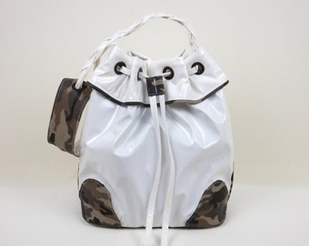 White and Camouflage Bucket Bag, White Handbag, Hobo Handbag, Frill Bucket Bag, Gift for Her, Sporty-Chic Handbag, Shoulder Bag,MyNewHandbag