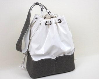 White & Grey Bucket Bag, White Handbag, Hobo Handbag, Pocket Handbag, MyNewHandbag, White Hobo Bag, Sporty-Chic Handbag, Shoulder Bag, Bag