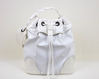 White Bucket Bag, White Handbag, Hobo Handbag, Frill Bucket Bag, Gift for Her, Sporty-Chic Handbag, Shoulder Bag, Hobo Bag, MyNewHandbag