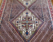 4.8 x 6.7 Vintage Top Quality Turkish Area Rug Decorative Hand Knotted Unique One of a Kind Geometric Design