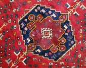 5.9 x 7.4 Vintage Top Quality Turkish Area Rug Decorative Hand Knotted Unique One of a Kind Geometric Design