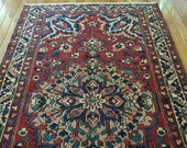 4.8 x 7.7 Antique Top Quality Azerbaijan Area Rug Decorative Hand Knotted One of a Kind Geometric Vintage rug