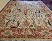 8 x 10 Vintage Design Top Quality Veg Dye Turkish Area Rug Decorative Hand Knotted Unique One of a Kind Geometric Design