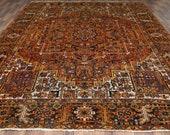 10.3 x 13 Antique Top Quality Veg Dye Azerbaijan Area Rug Decorative Hand Knotted Vintage Unique Geometric Design