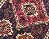 3.8 x 5.2 Vintage Top Quality Veg Dye Turkish Area Rug Decorative Hand Knotted Unique One of a Kind Geometric Design