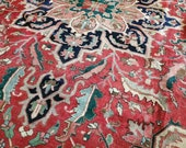 10 x 12 or 9.8 x 12.2 Vintage Top Quality Azerbaijan Area Rug Decorative Hand Knotted Unique Geometric Design