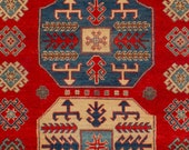 5.2 x 6.10 Vintage Design Top Quality Veg Dye Afghan Finest Decorative Hand Knotted Unique Geometric Area Rug
