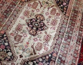 4.9 x 7.3 Antique Top Quality Turkish Area Rug Decorative Hand Knotted Caucasian Unique Vintage One of a Kind Geometric Design