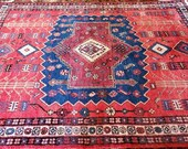 5.3 x 7.3 Vintage Top Quality Turkish Area Rug Decorative Hand Knotted One of a Kind Unique Geometric Design