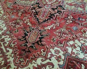 8 x 11 or 7.7 x 11.1 Vintage Top Quality Azerbaijan Area Rug Decorative Hand Knotted Unique Geometric Design