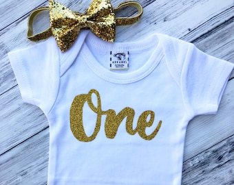 One glitter Onesie With bow headband/birthday onesie/first birthday girl/1st birthday girl/glitter birthday shirt/one month onesie/1 month