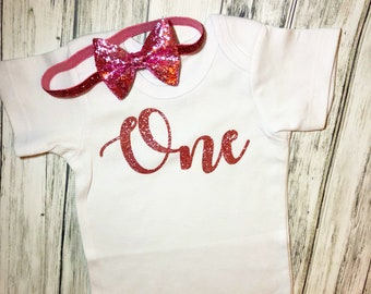 One rose gold glitter Onesie With bow headband/birthday onesie/first birthday girl/1st birthday girl/glitter birthday shirt/one month onesie