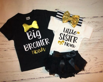 a6634295 Big brother little sister personalized sibling set/matching sibling set/Baby  shower gift/bow tie sibling shirts