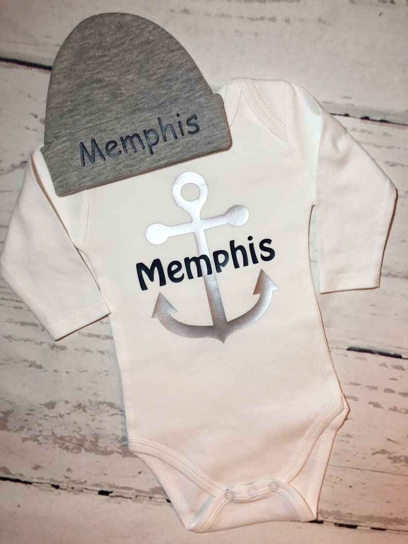 2083d25c7aa43 Anchor baby outfit with custom name/personalized anchor | Etsy