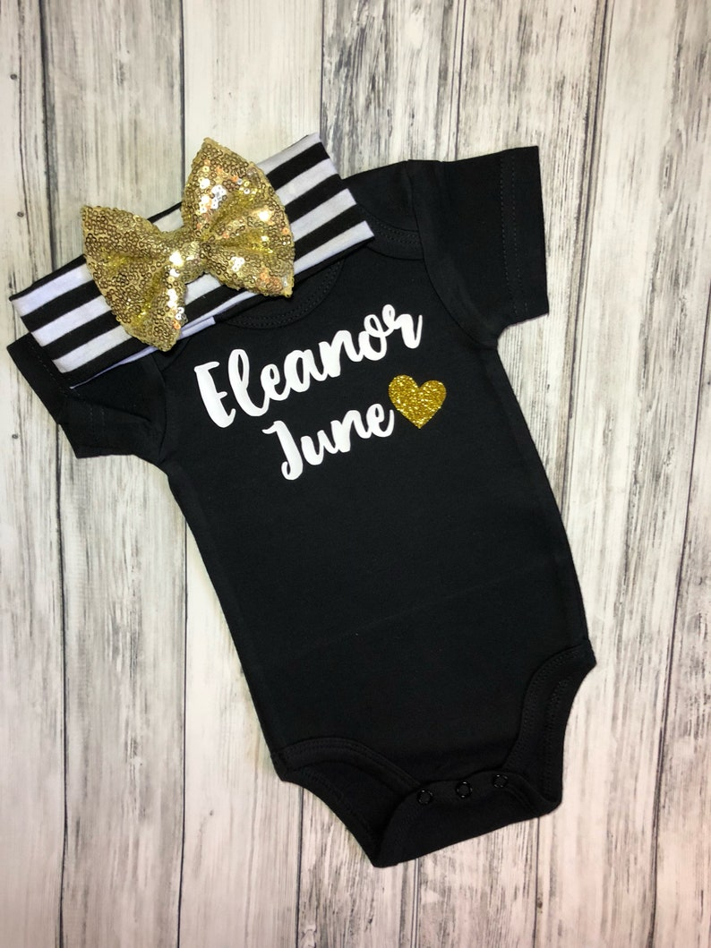 Personalized baby girl coming home outfit name and heartBaby shower gift for girltake home baby girlbring home baby girl