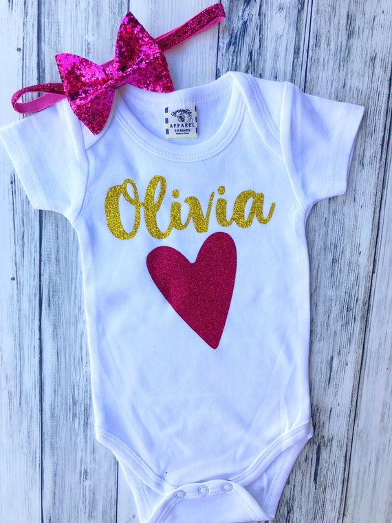 bbe90ab8db31 Personalized baby girl glitter heart and name/Baby shower gift   Etsy