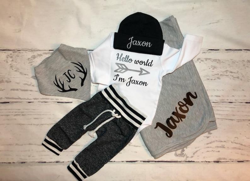 c8d1138f9d6c Hello World Arrow Personalized baby boy set Baby shower