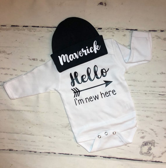 Hello My Name is Maverick Personalized Name Baby Romper