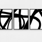 Black and White Abstract Art 3 Piece Wall Art, Contemporary Scribble Art Set of 3 Prints, Minimalist Printable Wall Art Extra Large Wall Art