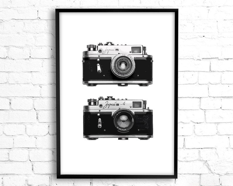 graphic about Camera Printable named Typical digital camera print wall artwork, printable wall artwork Scandinavian style and design Zorki digicam minimalist modern artwork electronic down load photographer