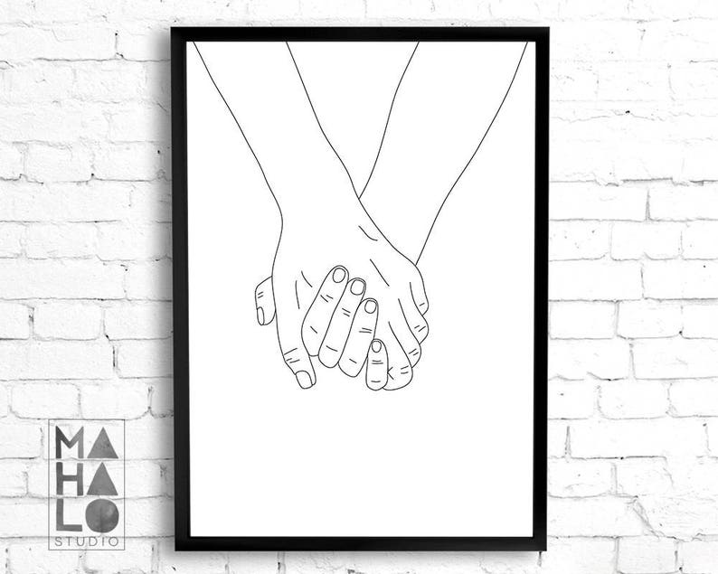 image about Hand Outline Printable called Preserving arms example printable wall artwork, valentines working day reward minimalist artwork black white delight in decor pair line artwork engagement marriage ceremony