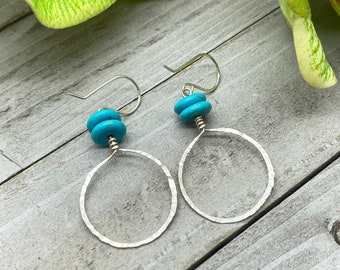Natural Turquoise Stone Rondelle Earrings with Silver Wire-wrapped, Hammered Hoops