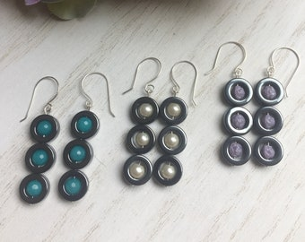 ON SALE! Hematite Donut Bead Dangle Earrings, Colored Jade Beads, Glass Pearls, German Glass Rose Beads